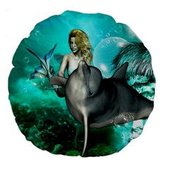 Beautiful Mermaid With  Dolphin With Bubbles And Water Splash Large 18  Premium Round Cushions