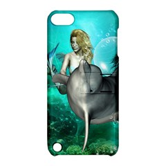 Beautiful Mermaid With  Dolphin With Bubbles And Water Splash Apple iPod Touch 5 Hardshell Case with Stand
