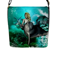 Beautiful Mermaid With  Dolphin With Bubbles And Water Splash Flap Messenger Bag (L)