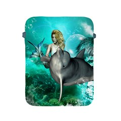 Beautiful Mermaid With  Dolphin With Bubbles And Water Splash Apple iPad 2/3/4 Protective Soft Cases