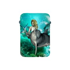 Beautiful Mermaid With  Dolphin With Bubbles And Water Splash Apple iPad Mini Protective Soft Cases