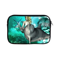 Beautiful Mermaid With  Dolphin With Bubbles And Water Splash Apple iPad Mini Zipper Cases