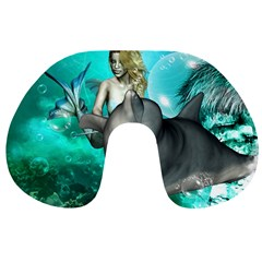 Beautiful Mermaid With  Dolphin With Bubbles And Water Splash Travel Neck Pillows
