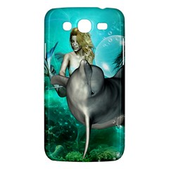 Beautiful Mermaid With  Dolphin With Bubbles And Water Splash Samsung Galaxy Mega 5.8 I9152 Hardshell Case