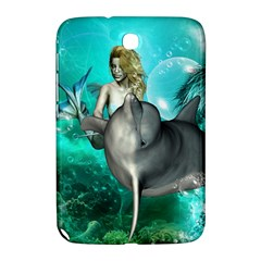 Beautiful Mermaid With  Dolphin With Bubbles And Water Splash Samsung Galaxy Note 8.0 N5100 Hardshell Case
