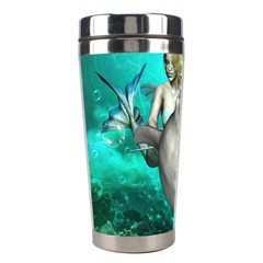 Beautiful Mermaid With  Dolphin With Bubbles And Water Splash Stainless Steel Travel Tumblers
