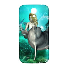 Beautiful Mermaid With  Dolphin With Bubbles And Water Splash Samsung Galaxy S4 I9500/I9505  Hardshell Back Case