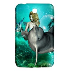 Beautiful Mermaid With  Dolphin With Bubbles And Water Splash Samsung Galaxy Tab 3 (7 ) P3200 Hardshell Case