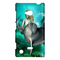 Beautiful Mermaid With  Dolphin With Bubbles And Water Splash Nokia Lumia 720