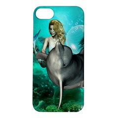 Beautiful Mermaid With  Dolphin With Bubbles And Water Splash Apple iPhone 5S Hardshell Case