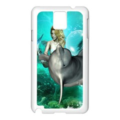 Beautiful Mermaid With  Dolphin With Bubbles And Water Splash Samsung Galaxy Note 3 N9005 Case (White)