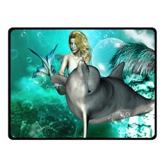 Beautiful Mermaid With  Dolphin With Bubbles And Water Splash Double Sided Fleece Blanket (small)