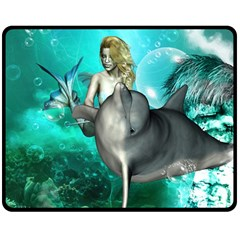 Beautiful Mermaid With  Dolphin With Bubbles And Water Splash Double Sided Fleece Blanket (Medium)