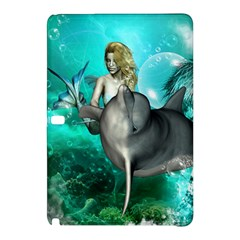 Beautiful Mermaid With  Dolphin With Bubbles And Water Splash Samsung Galaxy Tab Pro 10.1 Hardshell Case
