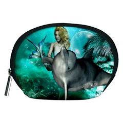 Beautiful Mermaid With  Dolphin With Bubbles And Water Splash Accessory Pouches (Medium)