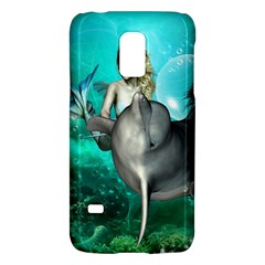 Beautiful Mermaid With  Dolphin With Bubbles And Water Splash Galaxy S5 Mini