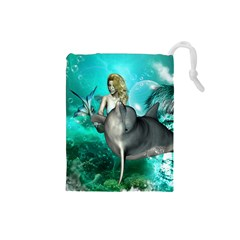 Beautiful Mermaid With  Dolphin With Bubbles And Water Splash Drawstring Pouches (Small)