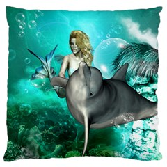 Beautiful Mermaid With  Dolphin With Bubbles And Water Splash Standard Flano Cushion Cases (Two Sides)