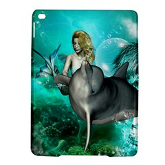 Beautiful Mermaid With  Dolphin With Bubbles And Water Splash iPad Air 2 Hardshell Cases