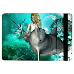 Beautiful Mermaid With  Dolphin With Bubbles And Water Splash iPad Air 2 Flip