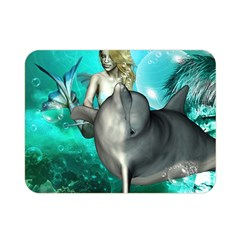 Beautiful Mermaid With  Dolphin With Bubbles And Water Splash Double Sided Flano Blanket (Mini)