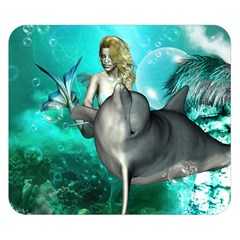Beautiful Mermaid With  Dolphin With Bubbles And Water Splash Double Sided Flano Blanket (small)