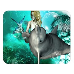 Beautiful Mermaid With  Dolphin With Bubbles And Water Splash Double Sided Flano Blanket (Large)