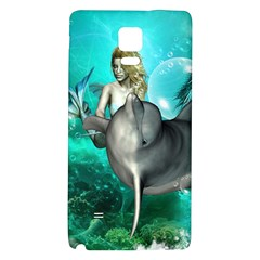Beautiful Mermaid With  Dolphin With Bubbles And Water Splash Galaxy Note 4 Back Case