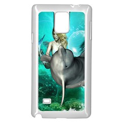 Beautiful Mermaid With  Dolphin With Bubbles And Water Splash Samsung Galaxy Note 4 Case (White)