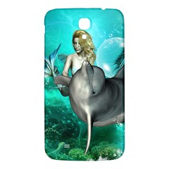 Beautiful Mermaid With  Dolphin With Bubbles And Water Splash Samsung Galaxy Mega I9200 Hardshell Back Case