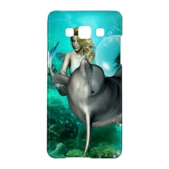 Beautiful Mermaid With  Dolphin With Bubbles And Water Splash Samsung Galaxy A5 Hardshell Case