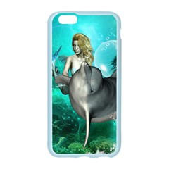 Beautiful Mermaid With  Dolphin With Bubbles And Water Splash Apple Seamless iPhone 6/6S Case (Color)