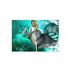 Beautiful Mermaid With  Dolphin With Bubbles And Water Splash Satin Wrap