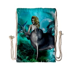Beautiful Mermaid With  Dolphin With Bubbles And Water Splash Drawstring Bag (small)