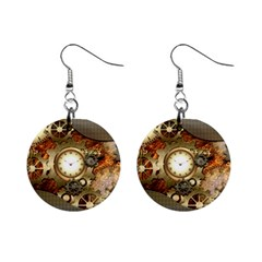 Steampunk, Wonderful Steampunk Design With Clocks And Gears In Golden Desing Mini Button Earrings