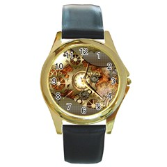 Steampunk, Wonderful Steampunk Design With Clocks And Gears In Golden Desing Round Gold Metal Watches