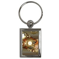 Steampunk, Wonderful Steampunk Design With Clocks And Gears In Golden Desing Key Chains (Rectangle)