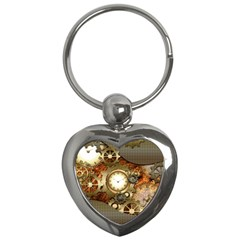 Steampunk, Wonderful Steampunk Design With Clocks And Gears In Golden Desing Key Chains (Heart)
