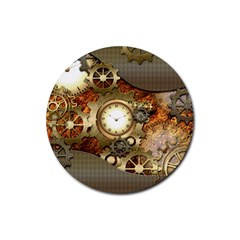 Steampunk, Wonderful Steampunk Design With Clocks And Gears In Golden Desing Rubber Coaster (Round)