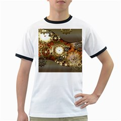 Steampunk, Wonderful Steampunk Design With Clocks And Gears In Golden Desing Ringer T-Shirts