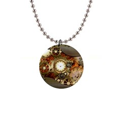 Steampunk, Wonderful Steampunk Design With Clocks And Gears In Golden Desing Button Necklaces