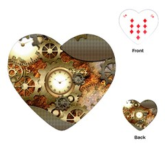 Steampunk, Wonderful Steampunk Design With Clocks And Gears In Golden Desing Playing Cards (Heart)