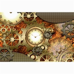 Steampunk, Wonderful Steampunk Design With Clocks And Gears In Golden Desing Collage 12  x 18