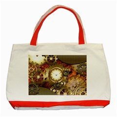 Steampunk, Wonderful Steampunk Design With Clocks And Gears In Golden Desing Classic Tote Bag (Red)