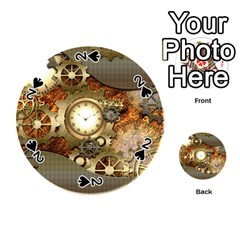 Steampunk, Wonderful Steampunk Design With Clocks And Gears In Golden Desing Playing Cards 54 (Round)