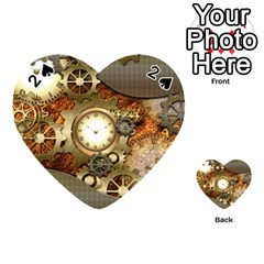 Steampunk, Wonderful Steampunk Design With Clocks And Gears In Golden Desing Playing Cards 54 (heart)