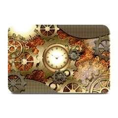 Steampunk, Wonderful Steampunk Design With Clocks And Gears In Golden Desing Plate Mats