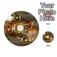 Steampunk, Wonderful Steampunk Design With Clocks And Gears In Golden Desing Multi-purpose Cards (Round)