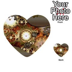 Steampunk, Wonderful Steampunk Design With Clocks And Gears In Golden Desing Multi-purpose Cards (Heart)