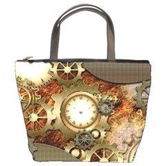Steampunk, Wonderful Steampunk Design With Clocks And Gears In Golden Desing Bucket Bags